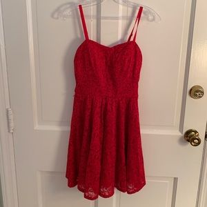 Red Lace Spaghetti Strap Dress